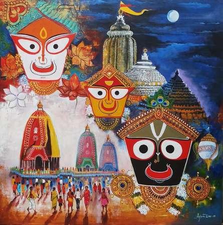 Religious Acrylic Art Painting title 'Jagannth Rath Yatra' by artist Arjun Das