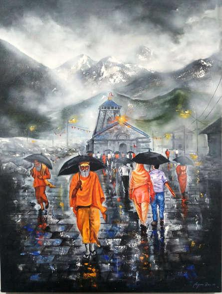 Arjun Das | Acrylic Painting title Journey Of Kedarnath on Canvas | Artist Arjun Das Gallery | ArtZolo.com
