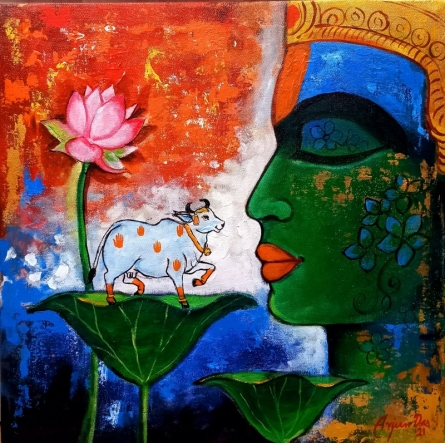 Religious Acrylic Art Painting title Krishna 2 by artist Arjun Das