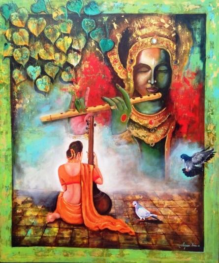 Figurative Acrylic Art Painting title 'Krishna Sang Meera' by artist Arjun Das
