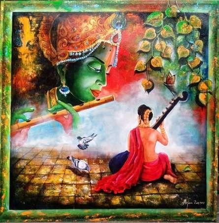 Realistic Acrylic Art Painting title 'Krishna Sang Meera 3' by artist Arjun Das