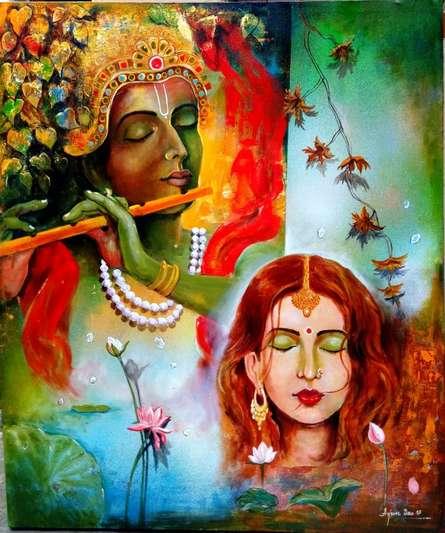 Religious Acrylic Art Painting title 'Krishna Sang Radhe' by artist Arjun Das