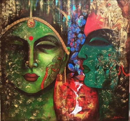contemporary Acrylic Art Painting title 'Love Of Krishna' by artist Arjun Das