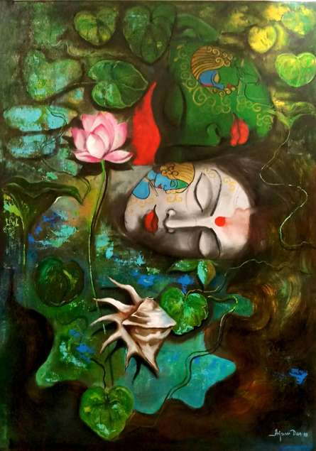 Religious Acrylic Art Painting title 'Love Of Krishna 2' by artist Arjun Das