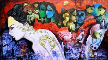 Abstract Acrylic Art Painting title 'Love Saga 2' by artist Arjun Das