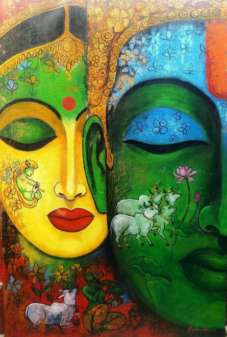 Religious Acrylic Art Painting title 'Love Saga 3' by artist Arjun Das