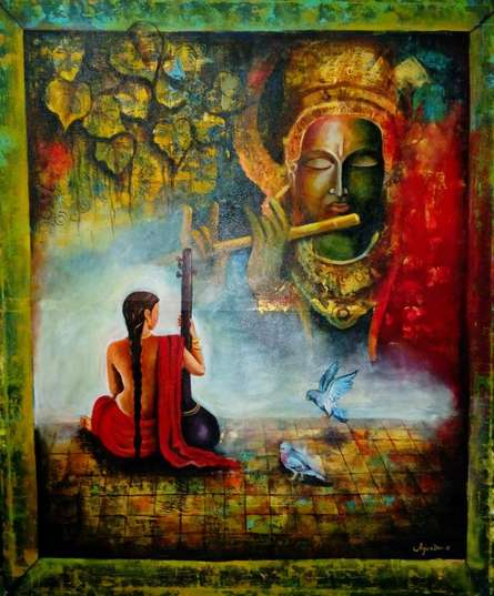 Religious Acrylic Art Painting title Meera And Krishna by artist Arjun Das