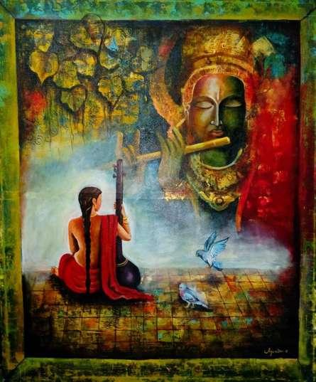 Meera And Krishna | Painting by artist Arjun Das | acrylic | Canvas