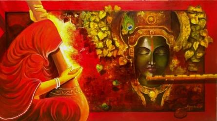 Religious Acrylic Art Painting title 'Meera Ke Krishna 1' by artist Arjun Das