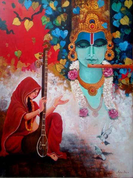 contemporary Acrylic Art Painting title 'Meera Ke Krishna 3' by artist Arjun Das