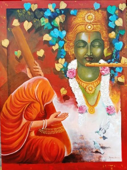 Religious Acrylic Art Painting title 'Meera Ke Krishna 5' by artist Arjun Das
