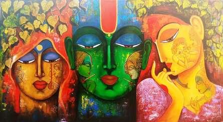 Religious Acrylic Art Painting title Meera Ke Krishna 6 by artist Arjun Das