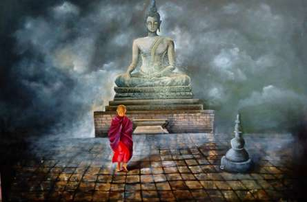 Religious Acrylic Art Painting title Monk Of Buddhism Child by artist Arjun Das