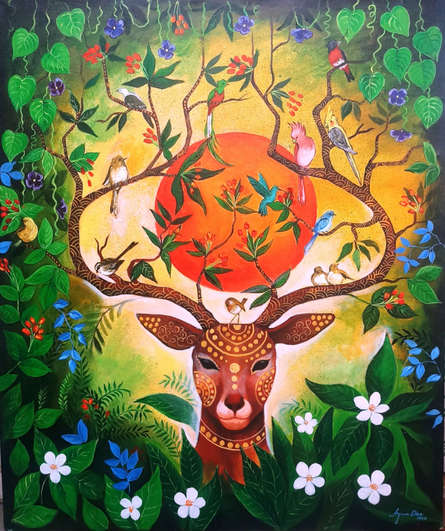Nature Acrylic Art Painting title 'Nature Of Love' by artist Arjun Das