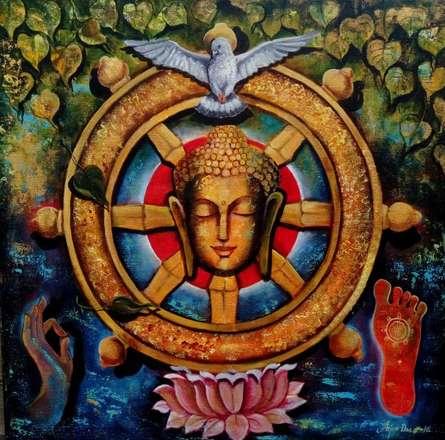 Religious Acrylic Art Painting title 'Peaceful Buddha 4' by artist Arjun Das