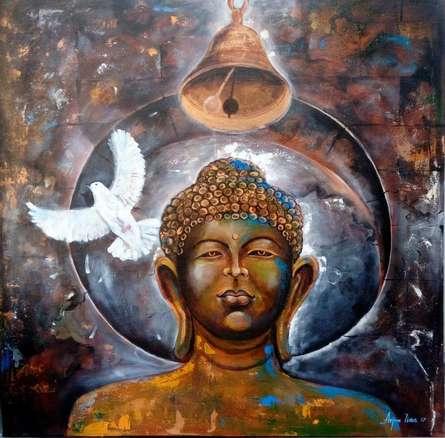 Peaceful Buddha 5 | Painting by artist Arjun Das | acrylic | Canvas