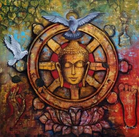 Religious Acrylic Art Painting title 'Peaceful Buddha ' by artist Arjun Das