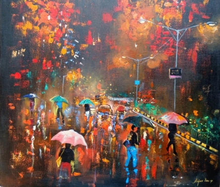 Rainy Day | Painting by artist Arjun Das | acrylic | Canvas
