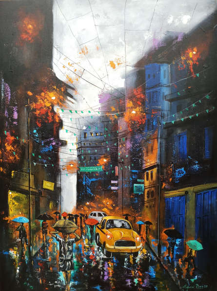 Cityscape Acrylic Art Painting title Rainy Day by artist Arjun Das