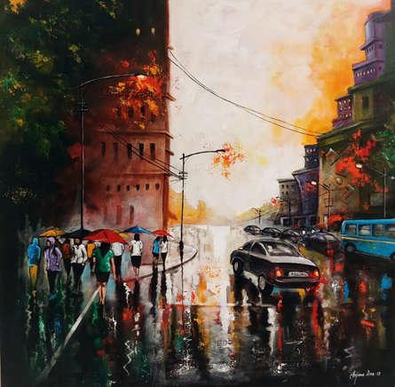 Cityscape Acrylic Art Painting title Rainy Day 10 by artist Arjun Das