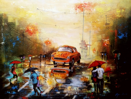 Cityscape Acrylic Art Painting title 'Rainy Day 12' by artist Arjun Das