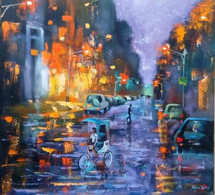 Realistic Acrylic Art Painting title 'Rainy Day 2' by artist Arjun Das