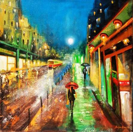 Cityscape Acrylic Art Painting title 'Rainy Day 3' by artist Arjun Das
