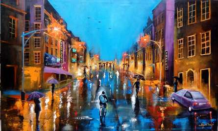 Realistic Acrylic Art Painting title 'Rainy Day 4' by artist Arjun Das