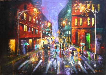 Cityscape Acrylic Art Painting title Rainy Day 5 by artist Arjun Das