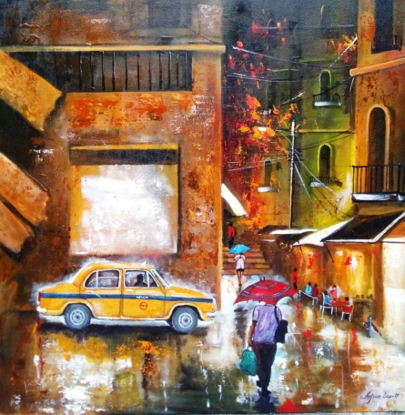 Cityscape Acrylic Art Painting title Rainy Day 7 by artist Arjun Das
