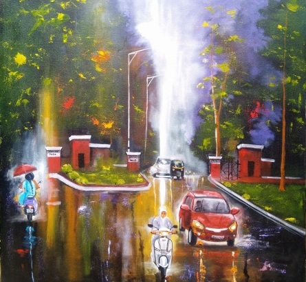 Cityscape Acrylic Art Painting title 'Rainy Day 7' by artist Arjun Das