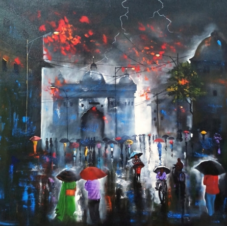 Cityscape Acrylic Art Painting title Rainy Day 8 by artist Arjun Das