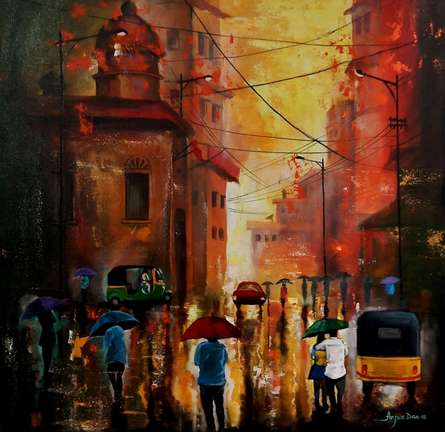 Arjun Das | Acrylic Painting title Rainy Day 9 on Canvas | Artist Arjun Das Gallery | ArtZolo.com