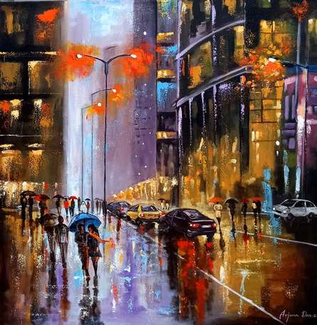 Cityscape Acrylic Art Painting title Rainy Day In City 2 by artist Arjun Das