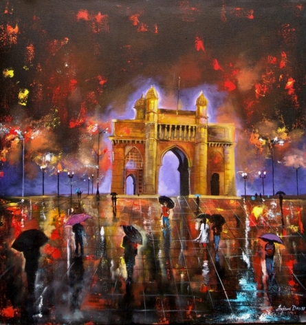Rainy Day In Gatway Of India | Painting by artist Arjun Das | acrylic | canvas