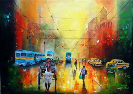 contemporary Acrylic Art Painting title Rainy Day In Kolkata by artist Arjun Das
