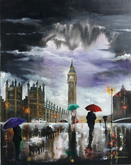 Cityscape Acrylic Art Painting title 'Rainy Day In London' by artist Arjun Das