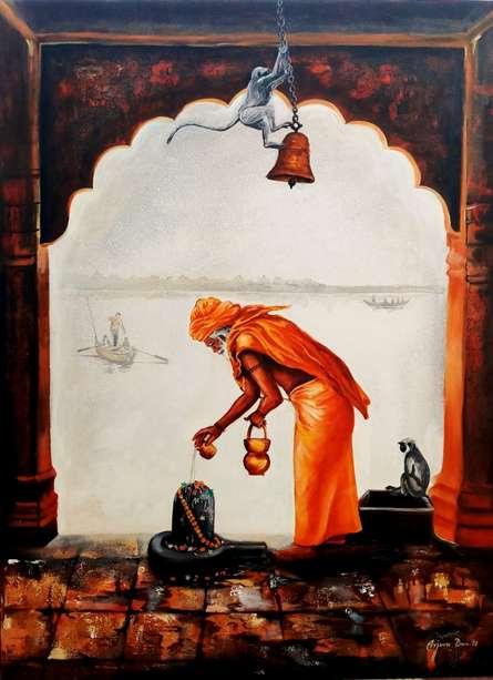 Realistic Acrylic Art Painting title 'Sadhu' by artist Arjun Das