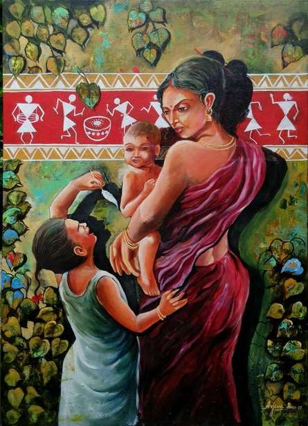 Arjun Das | Acrylic Painting title The Tribal Of Mother And Child on Canvas | Artist Arjun Das Gallery | ArtZolo.com