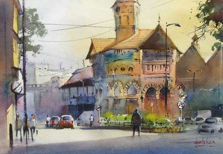 Cityscape Watercolor Art Painting title 'A Market Of Beauty' by artist Gulshan Achari