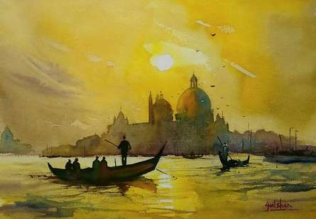 Seascape Watercolor Art Painting title 'Backlight Beauty' by artist Gulshan Achari