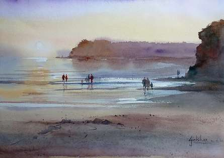 Gulshan Achari | Watercolor Painting title Enjoying The Evening on Paper | Artist Gulshan Achari Gallery | ArtZolo.com