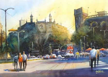 Gulshan Achari | Watercolor Painting title Feel The Warmth Of Mumbai on Paper | Artist Gulshan Achari Gallery | ArtZolo.com
