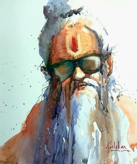 Going With The Flow | Painting by artist Gulshan Achari | watercolor | Paper