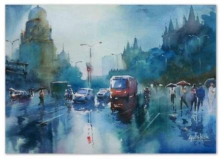 Cityscape Watercolor Art Painting title Rainspirations by artist Gulshan Achari