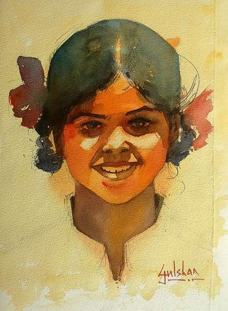 Figurative Watercolor Art Painting title 'Happiness Is A State Of Mind' by artist Gulshan Achari