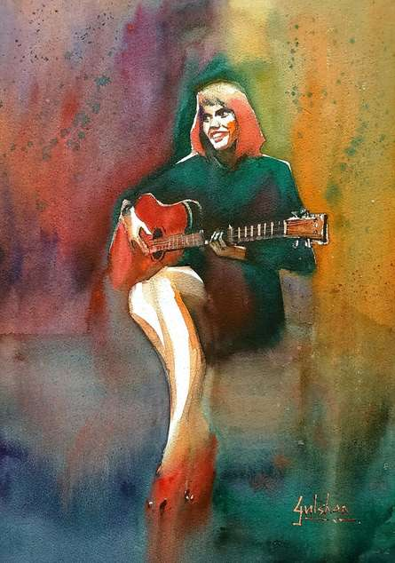 Figurative Watercolor Art Painting title 'Her Swaying Red Shoes' by artist Gulshan Achari