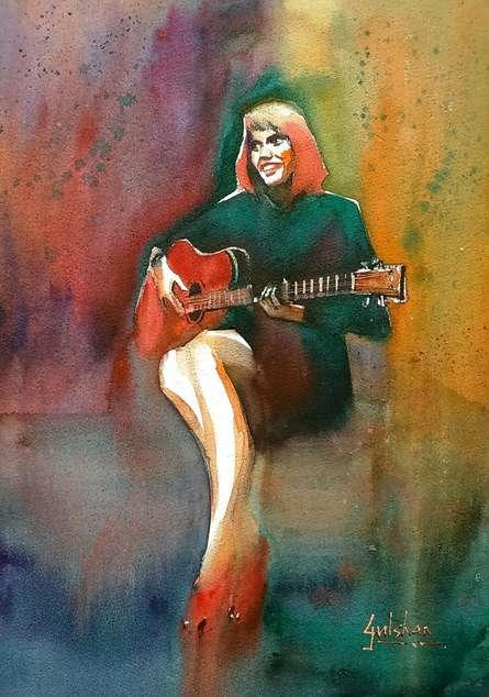 Gulshan Achari | Watercolor Painting title Her Swaying Red Shoes on Paper | Artist Gulshan Achari Gallery | ArtZolo.com
