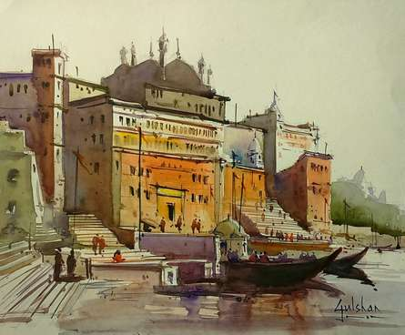 Scenic Watercolor Art Painting title 'Lets Go For A Walk' by artist Gulshan Achari