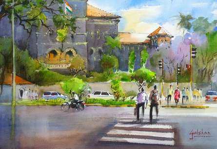 Cityscape Watercolor Art Painting title Lifes A Cross over by artist Gulshan Achari